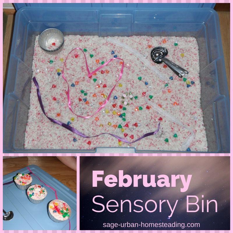 February sensory bin