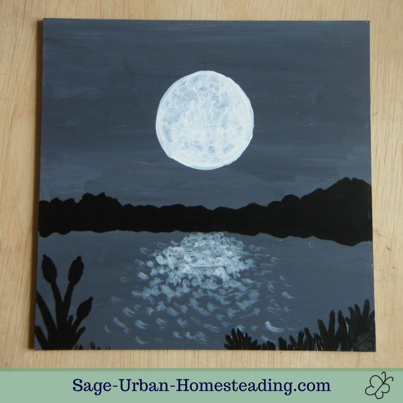 painting: moon over water