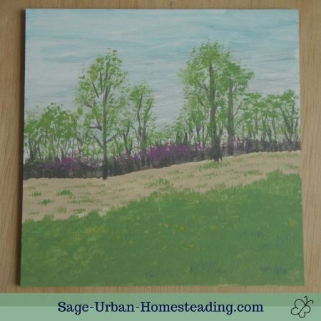 painting: spring forest and field