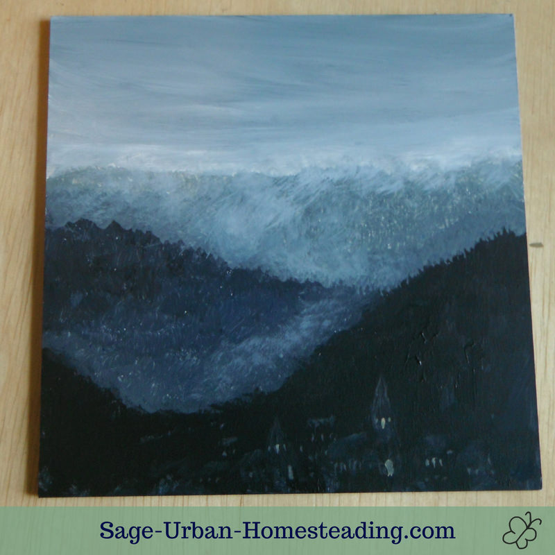 painting: misty hills