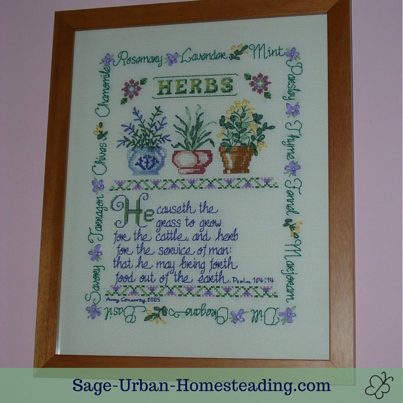 herb cross stitch and silk ribbon embroidery