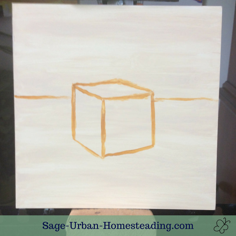 cube outline painting