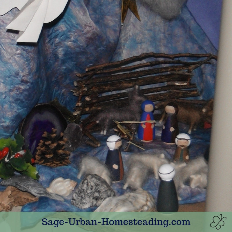 busy Advent garden nativity scene