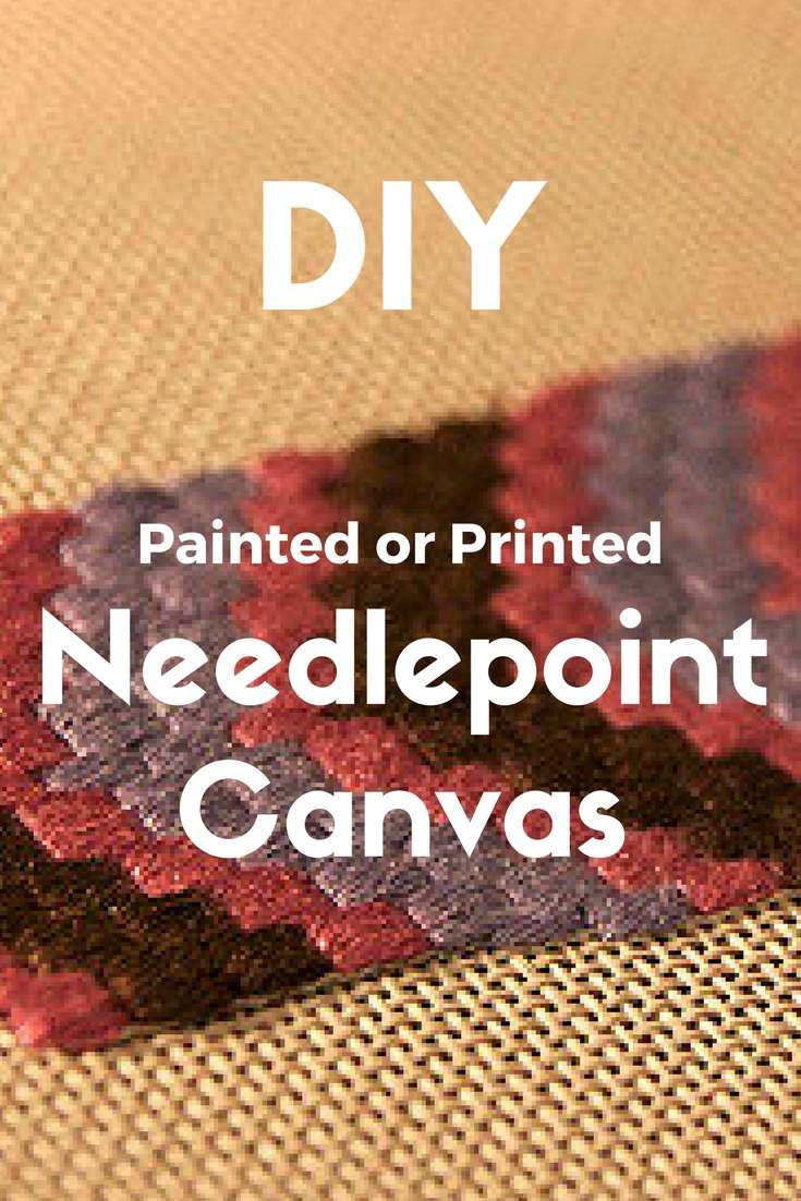 DIY painted or printed needlepoint canvas