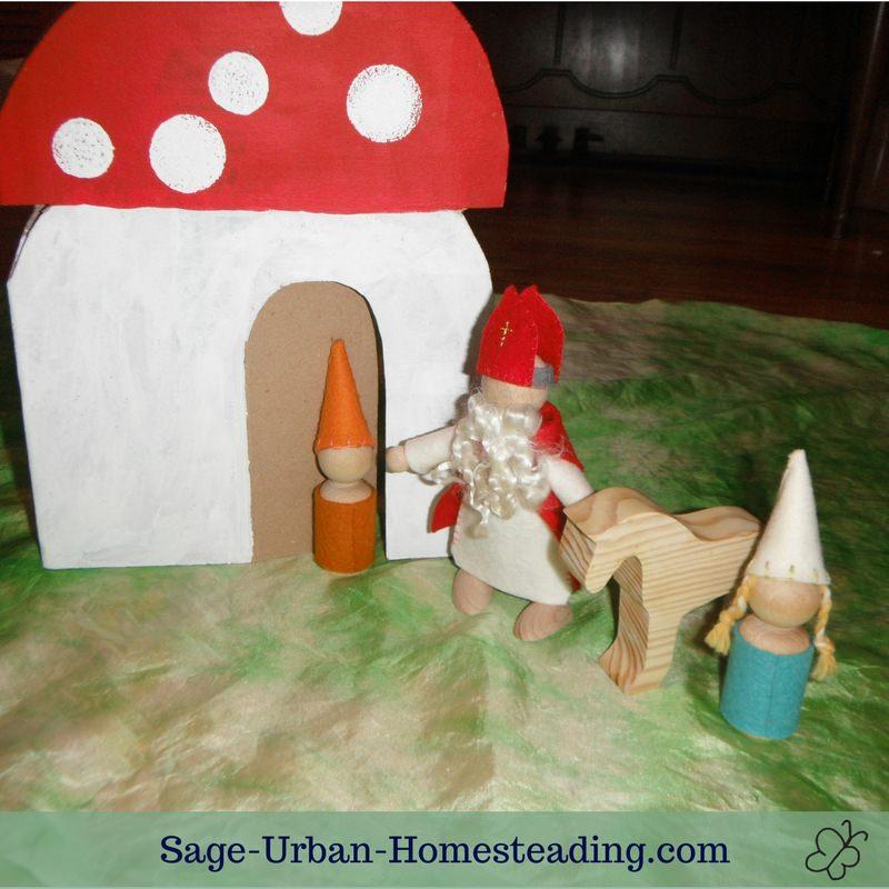 St. Nicholas visits mushroom house