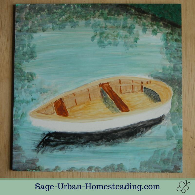 painting: boat and leaves reflected in water