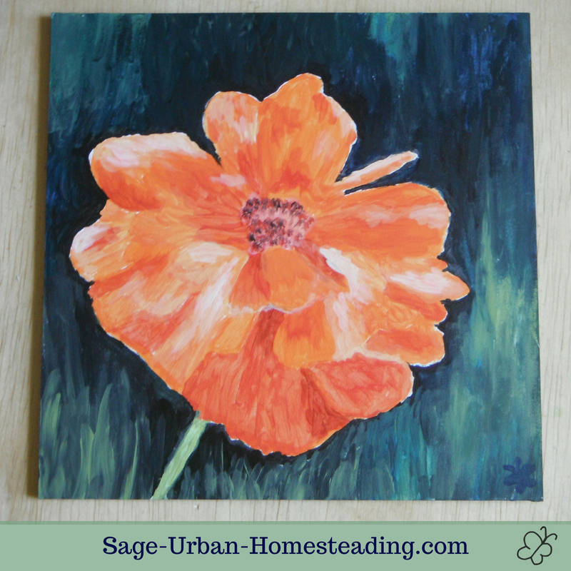 painting: orange poppy