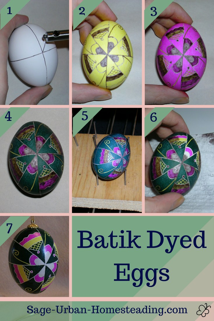 Batik dyed eggs steps