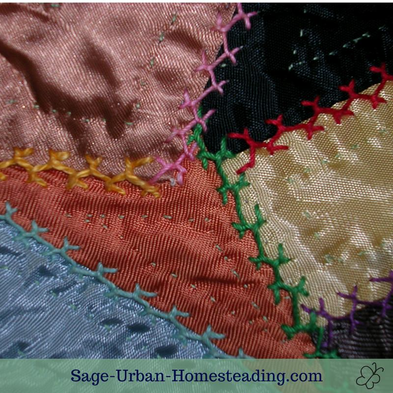 Crazy quilt embroidery for quilting