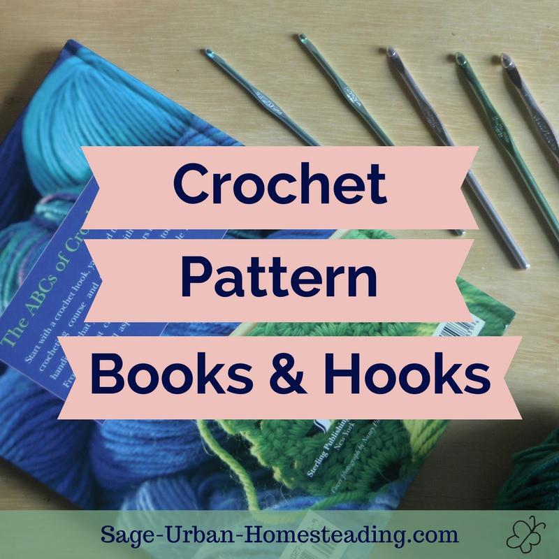 crochet pattern books and hooks