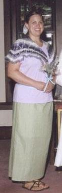 wearing the crochet shawl