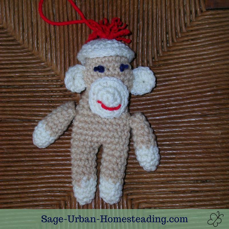 crochet sock monkey ornament
