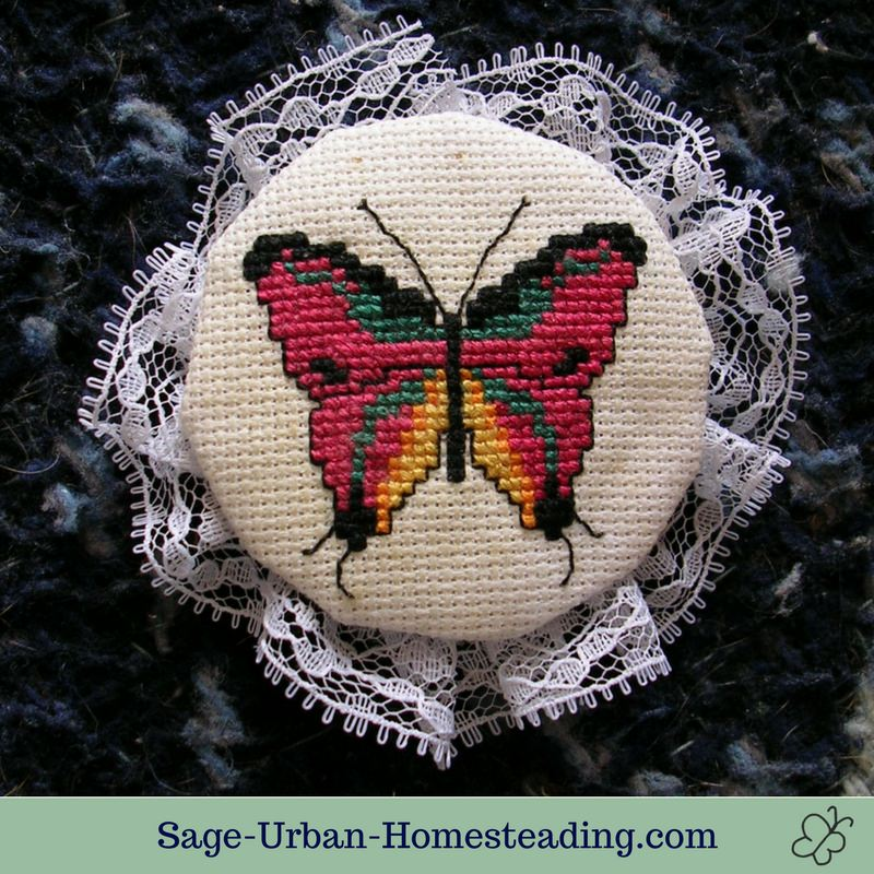 embroidered butterfly ornament