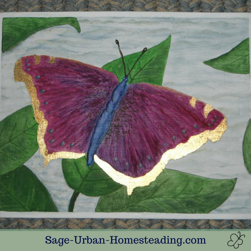 egg tempera butterfly painting