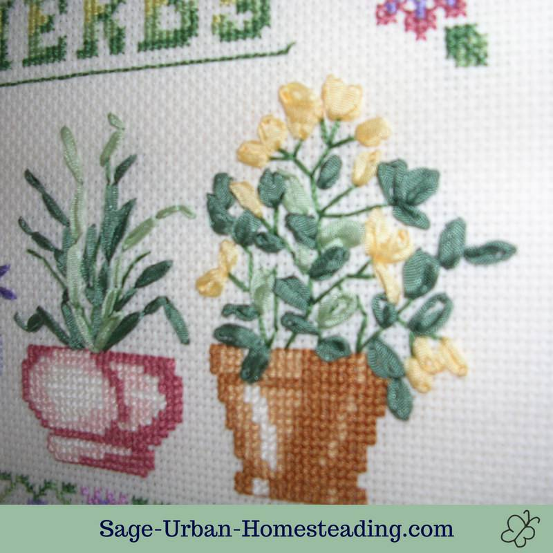 herb embroidery detail