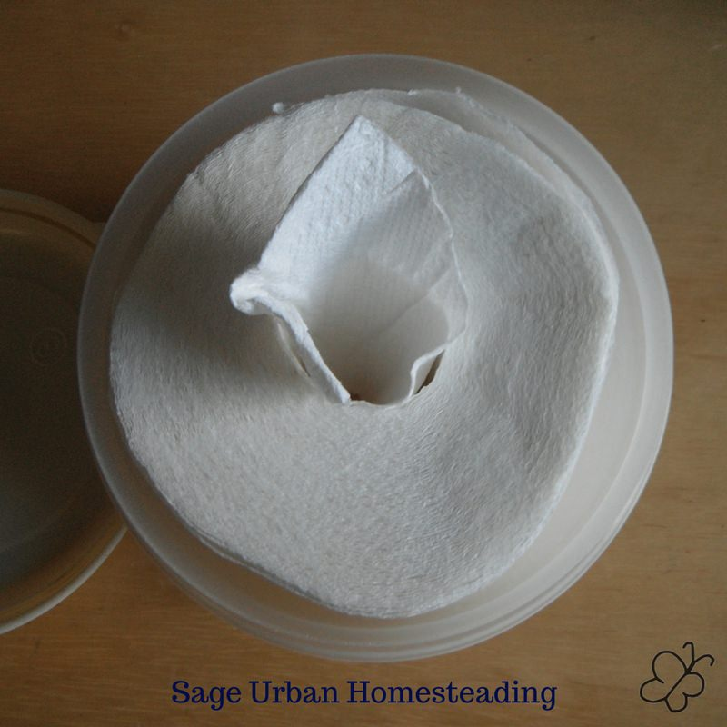 homemade wipes container and dispenser