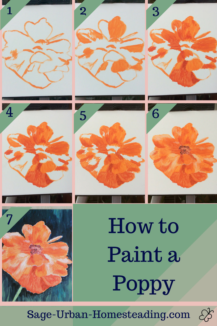 how to paint a poppy