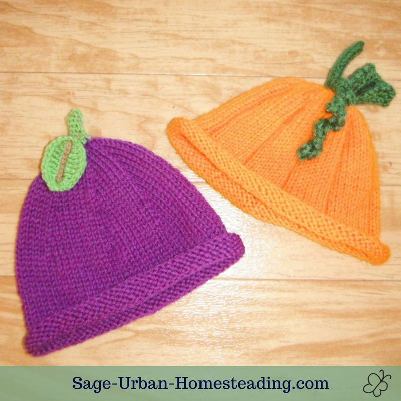 grape and pumpkin baby hats