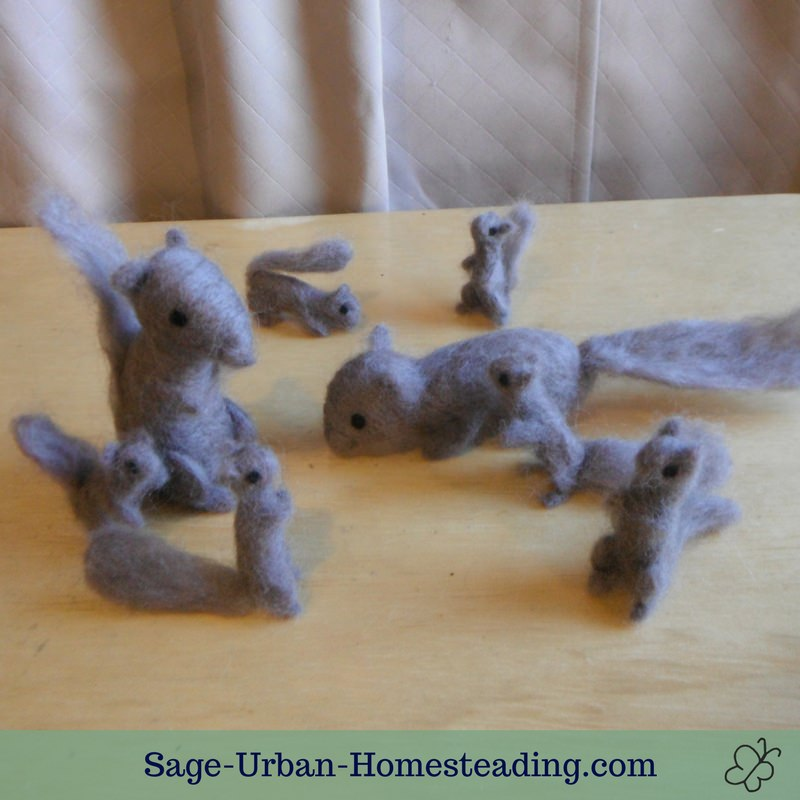 needle felted squirrels
