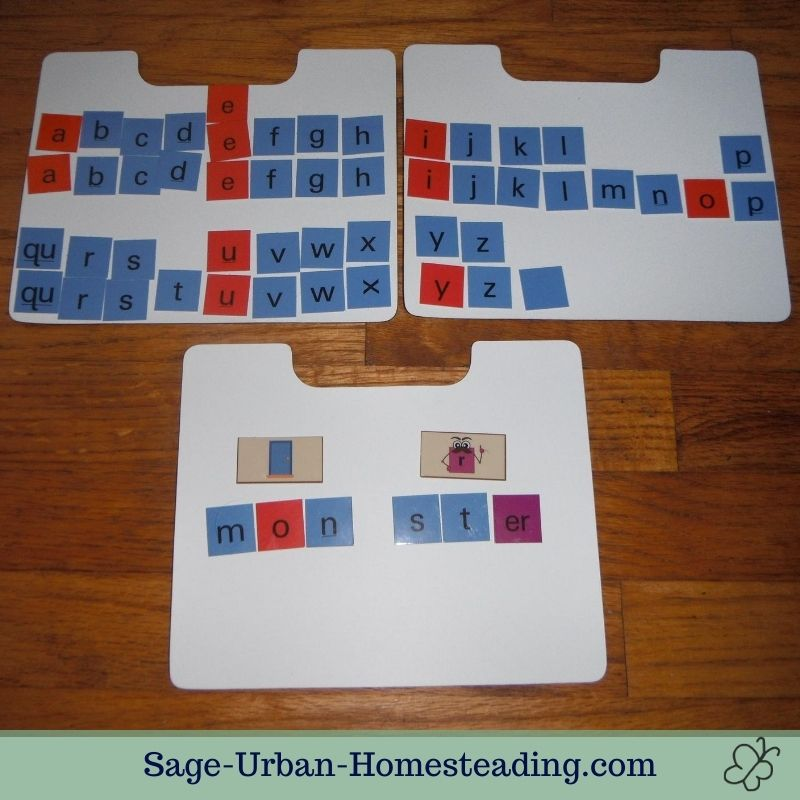 spelling with a magnetic letter tile alphabet