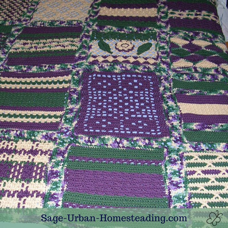 crochet sampler afghan close-up