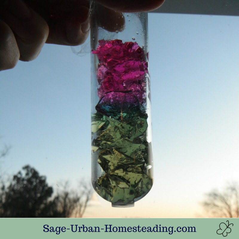 rainbow jiggly crystals in test tube