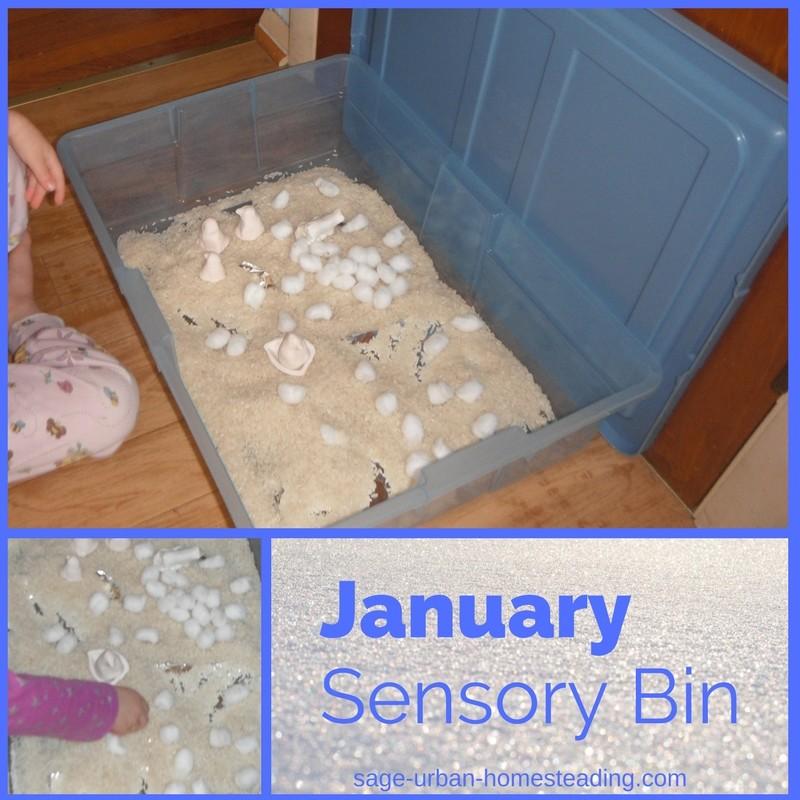 January sensory bin