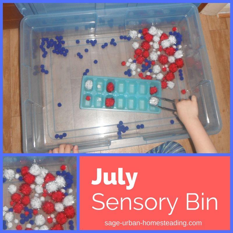 July sensory bin