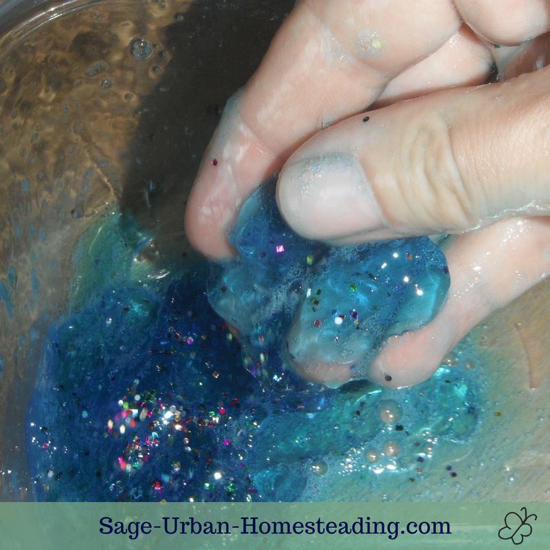 translucent blue glitter slime