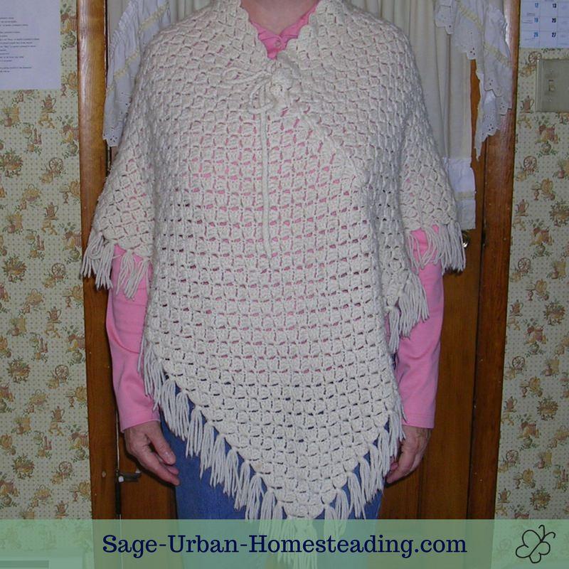 vintage crochet poncho