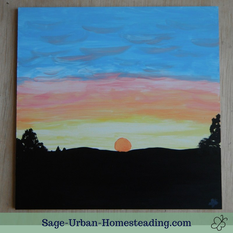 painting: sunset over wooded hills