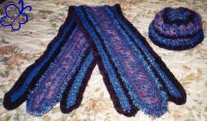 fancy crochet hat and scarf