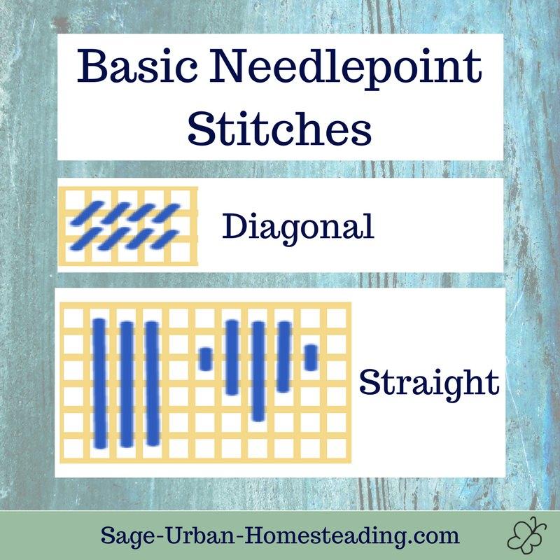 basic needlepoint stitches: straight and diagonal