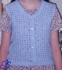 blue crochet vest