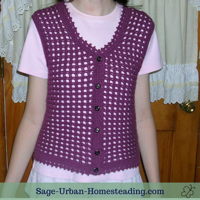 purple crochet vest