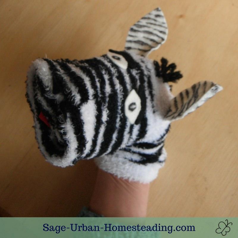 zebra sock puppet